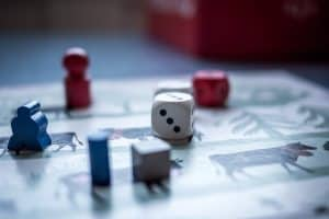 board game pieces and dice