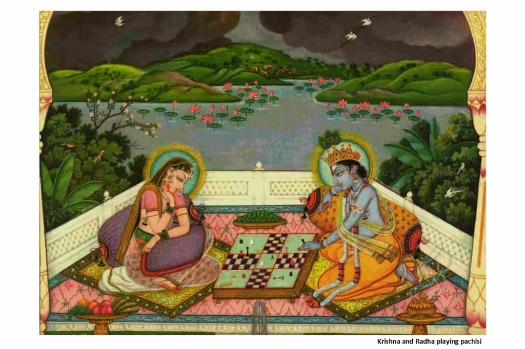 Krishna and Radha Playing Pachisi