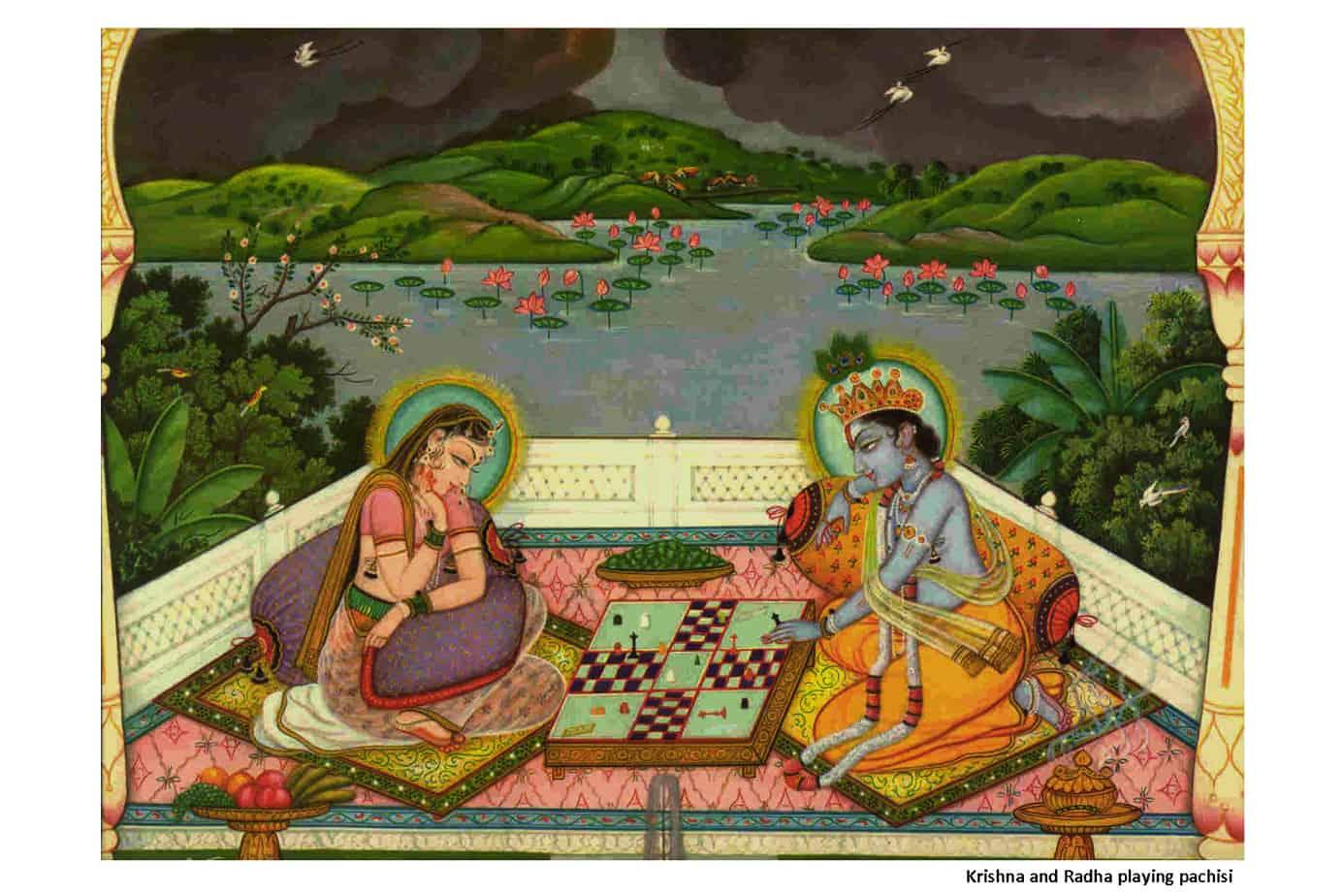 Krishna and Radha Playing Pachisi