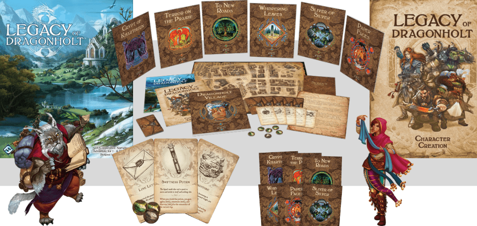 Legacy of Dragonholt Board Game Box and Components