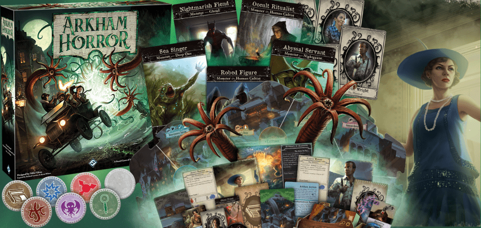 Arkham Horror Components Overview and Third Edition Box