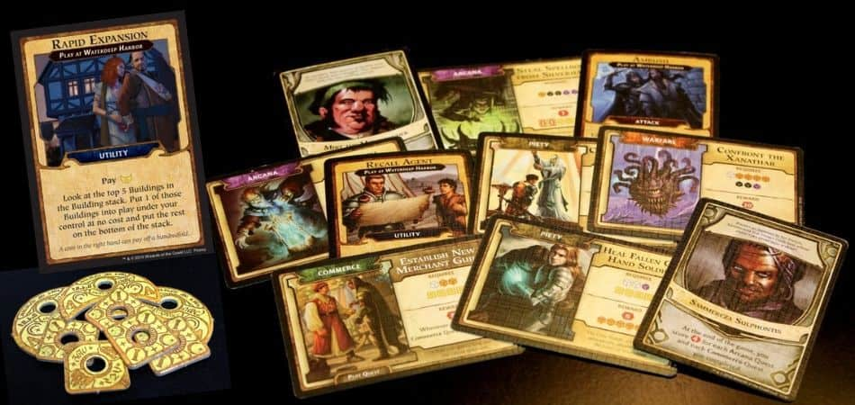 Lords of Waterdeep Board Game Cards and Coins