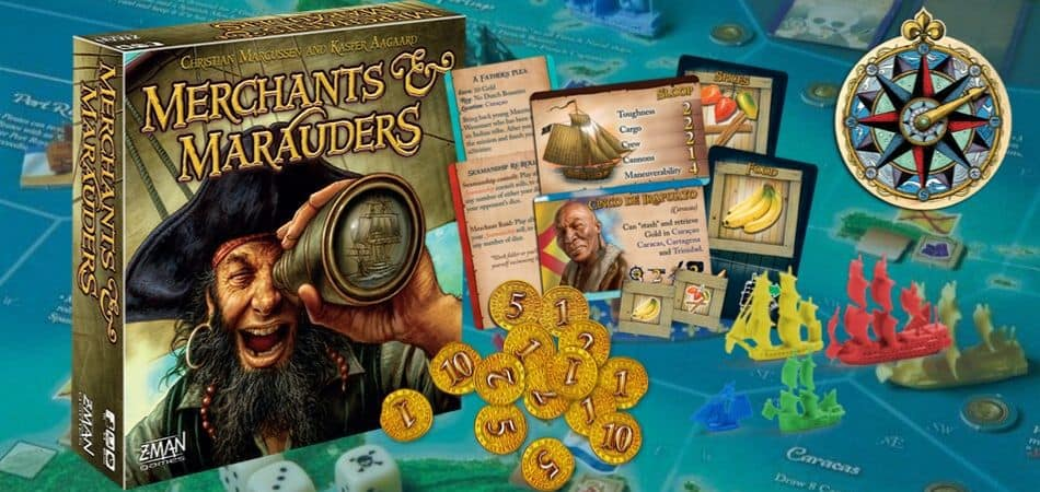 Merchants & Marauders Board Game box and assets