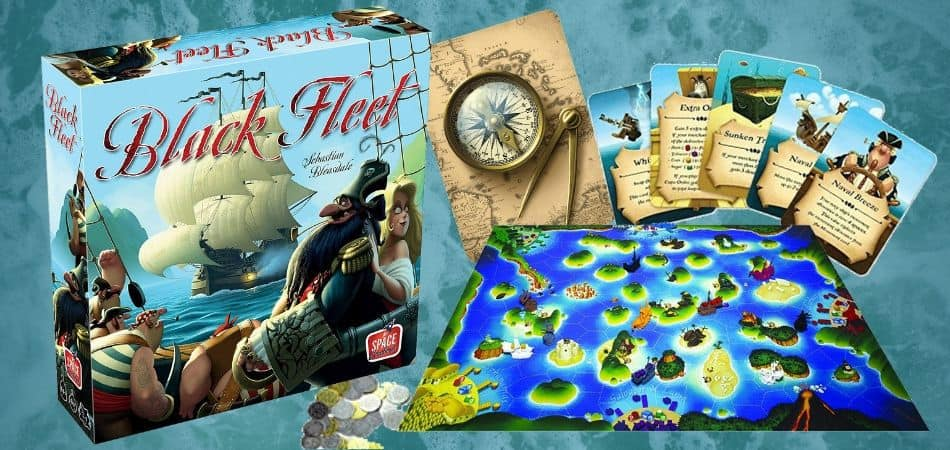Black Fleet pirate Board Game box and board
