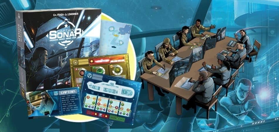 Captain Sonar Board Game Box, Components, and Art