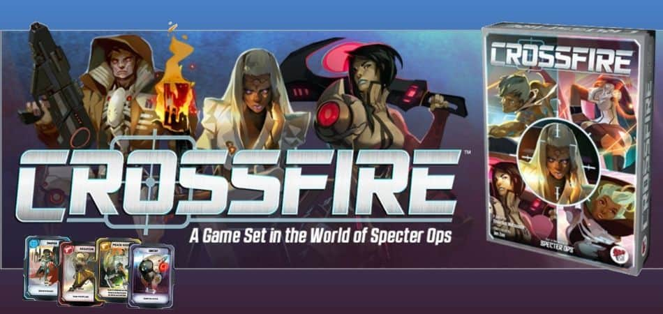 Crossfire Board Game box and Cards