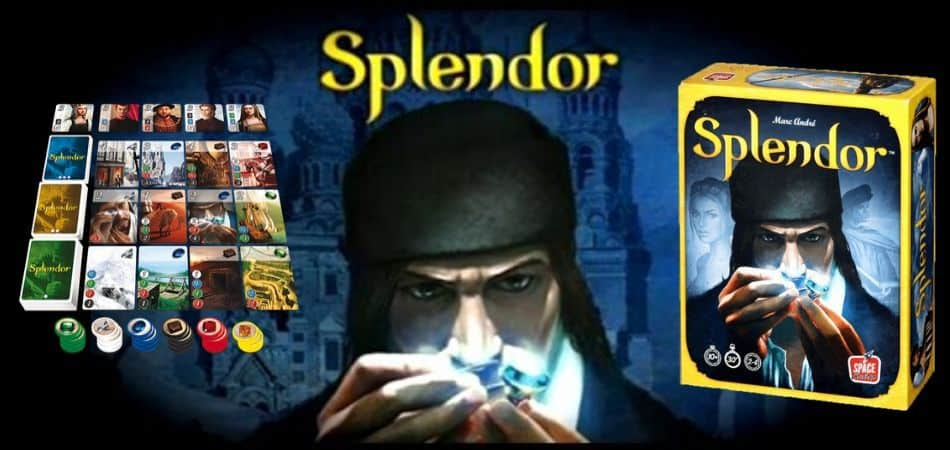 Splendor Board Game Box and Card Setup