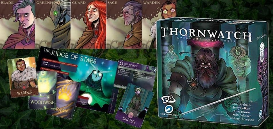 Thornwatch Eyrewood Adventures Board Game Card, Box, and Characters