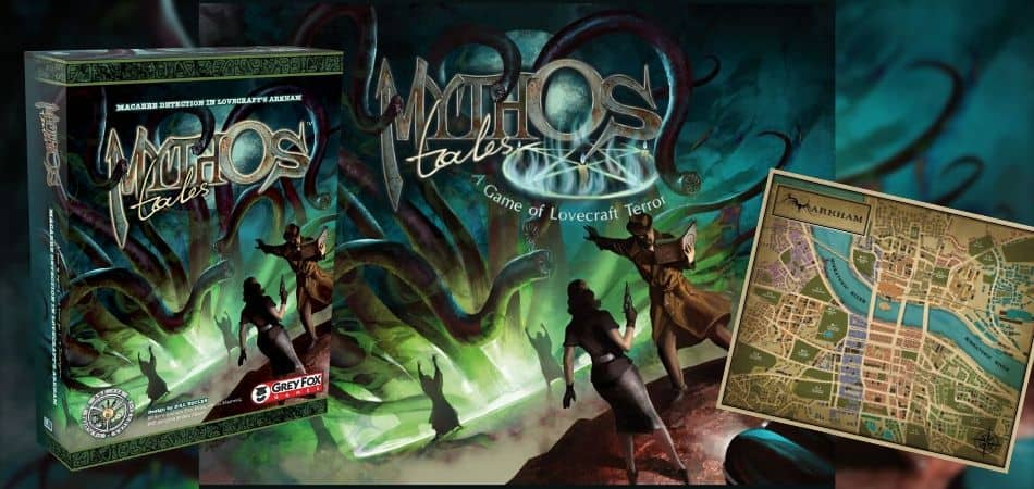 Mythos Tales Board Game Box and Map