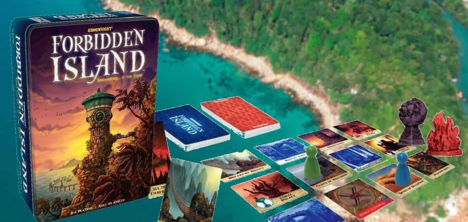 Forbidden Island Board Game Box, Cards, and Tile Setup