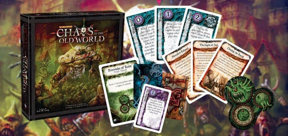 Chaos in the Old World Board Game Box and Cards