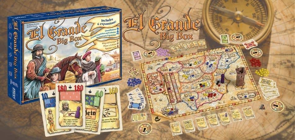 El Grande Big Box Board Game Box and Board Setup