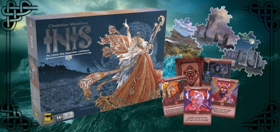 Inis Board Game Box, Tiles, and Cards