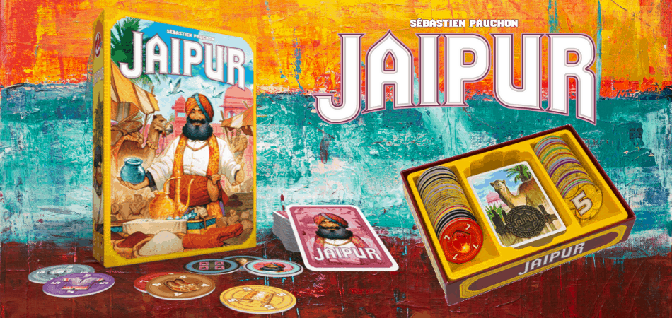 Jaipur Board Game Open Box and Cards with Logo