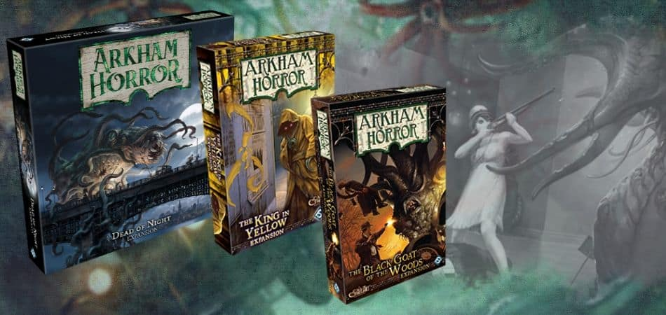 Arkham Horror Board Game Expansions - Dead of Night, King in Yellow, and Black Goat of the Woods Boxes
