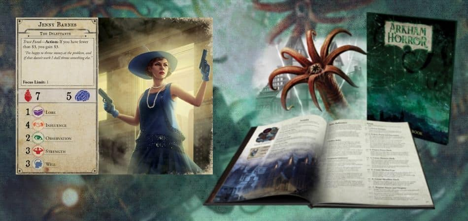 Arkham Horror Board Game Character Card and Rulebook