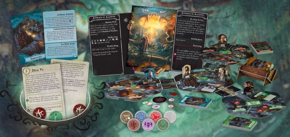 Arkham Horror Board Game Cards and Components