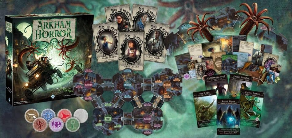Arkham Horror Board Game, Cards, Tiles, Tokens, and Art