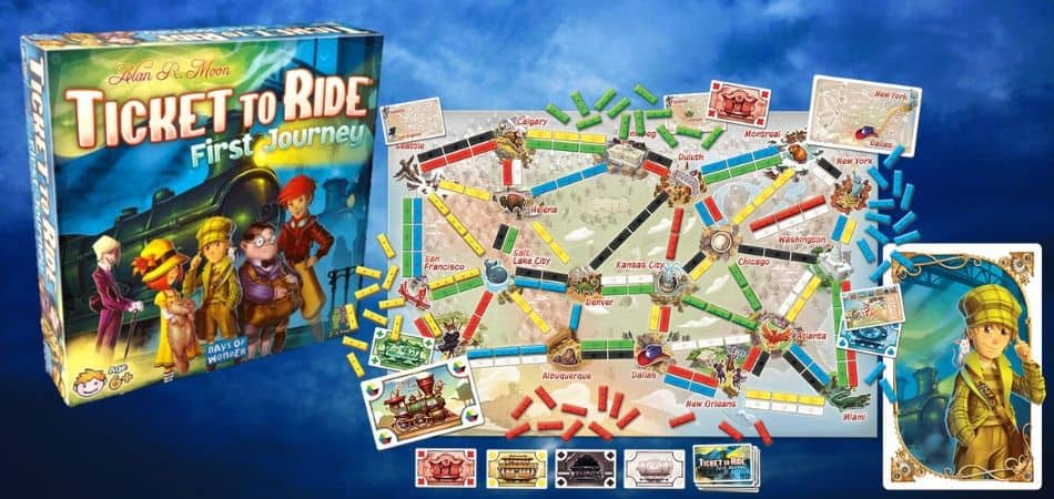 Ticket to Ride: First Journey Board Game Box and Board