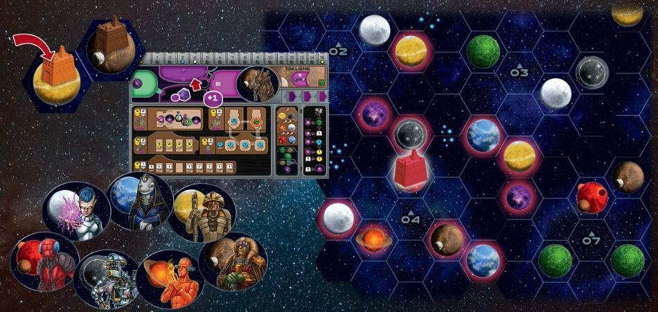 Gaia Project tokens and player board