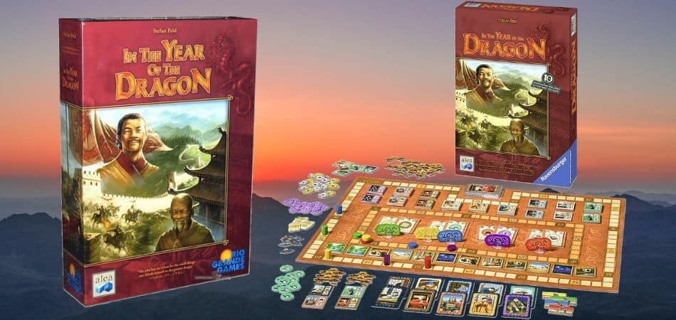 In the Year of the Dragon Board Game Box and Board