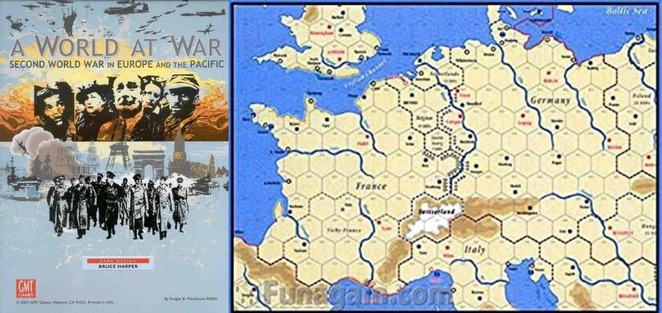 A World at War Board Game box cover and map