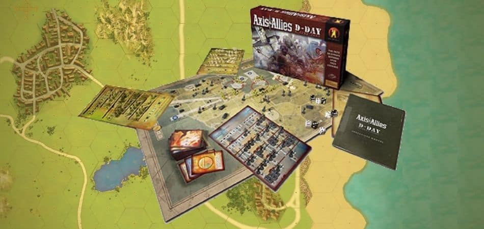 Axis & Allies: D-Day board game components, box, and map
