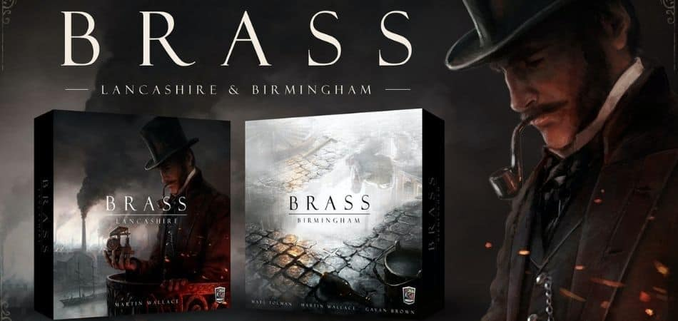 Brass Birmingham and Brass Lancashire board game boxes