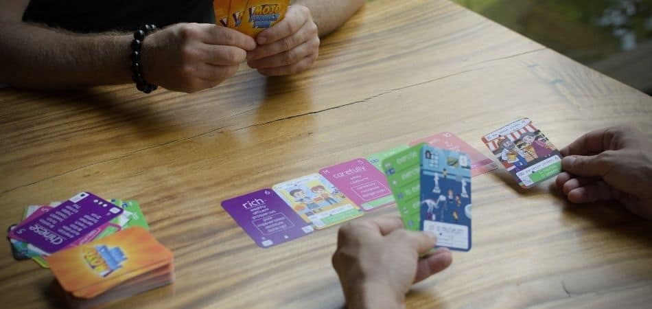 Playing Mojo Cards on a table
