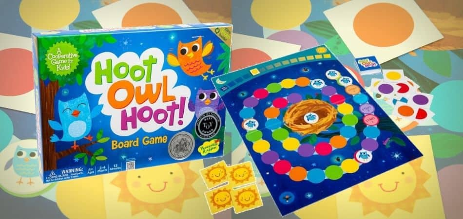 Hoot Owl Hoot Board Game Box and Board