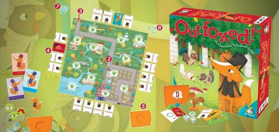 Outfoxed board game box and components