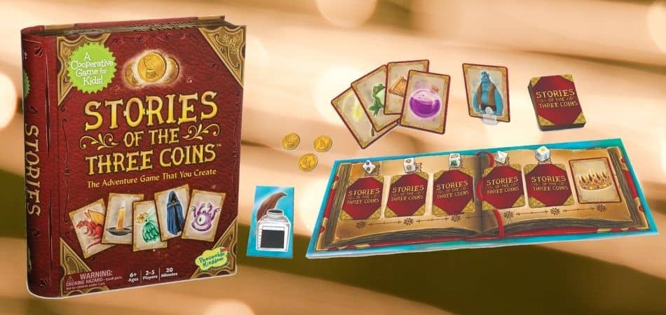 Stories of the Three Coins Board Game Box and Components