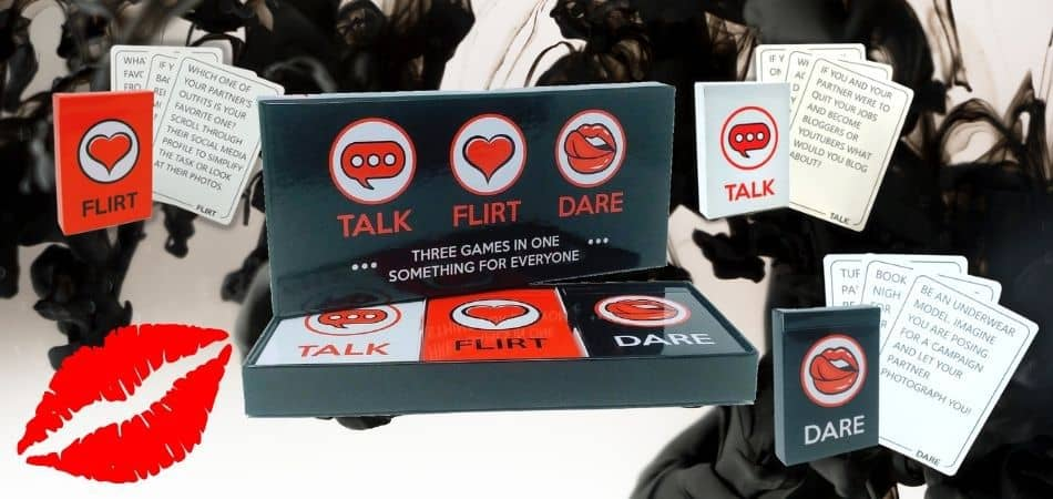 Talk Flirt Dare Board Game Box and Cards