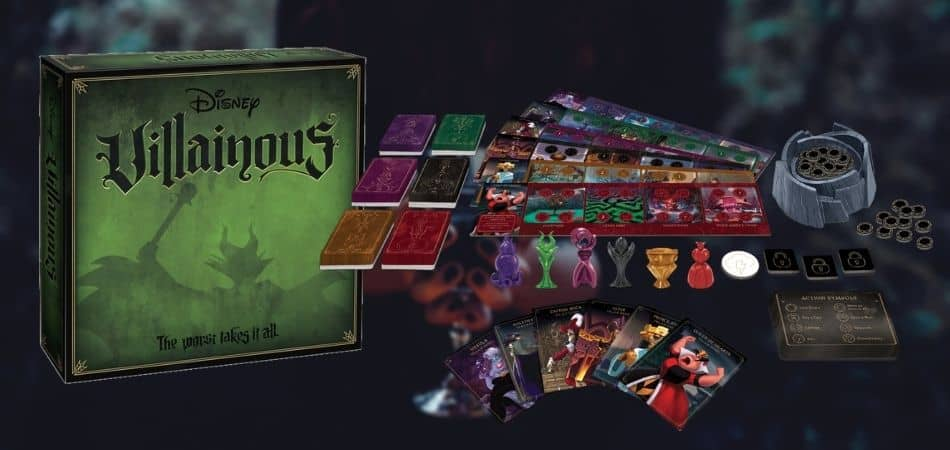 Villainous Board Game Box and Components