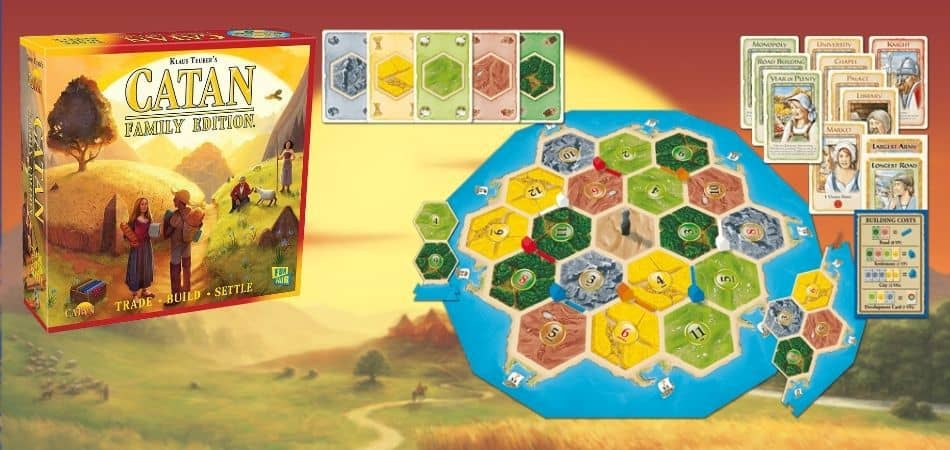 Catan Family Edition Board Game Box and Components