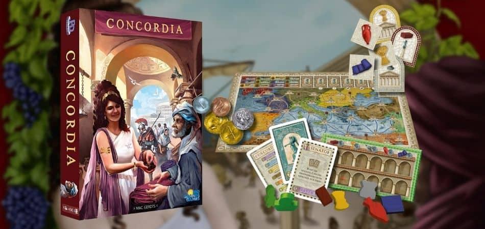 Concordia board game box and board