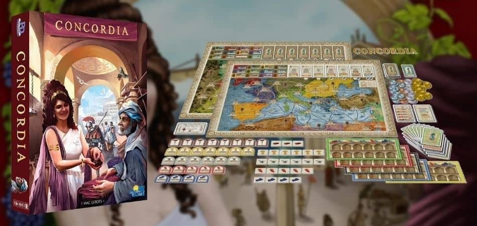 Concordia Board Game Box and Game Setup
