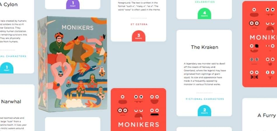 Monikers Board Game Box and Cards