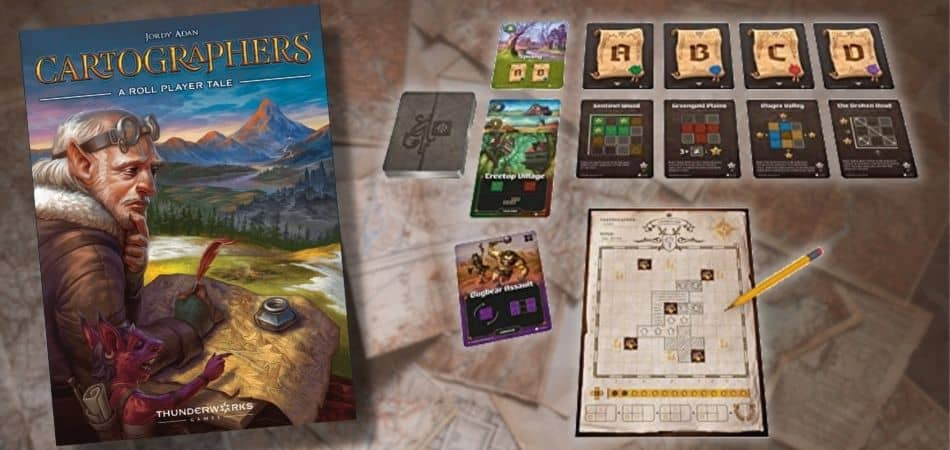 Cartographers Board Game Box and Components