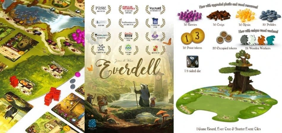 Everdell board game awards and components list