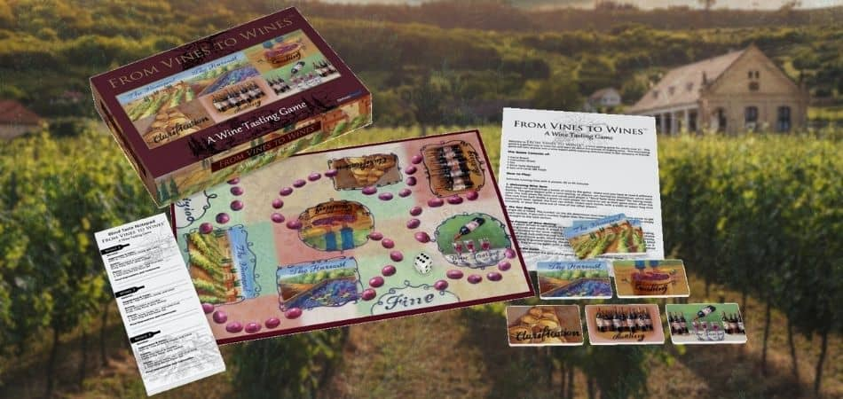 From Vines to Wines Board Game Box and Components
