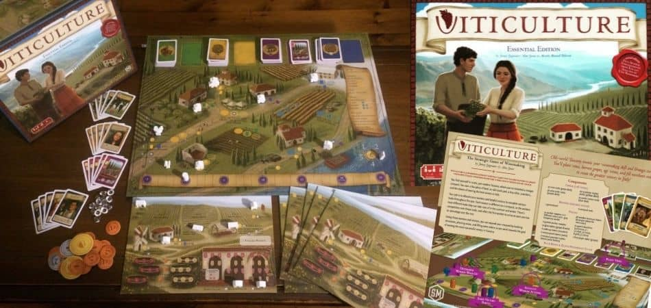Viticulture Essential Edition Board Game Setup and Box