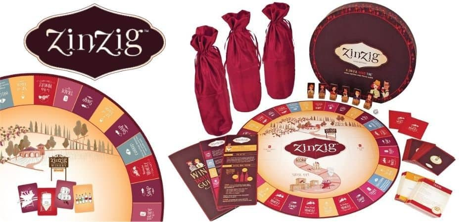 ZinZig Wine Tasting and Trivia Board Game Box and Components