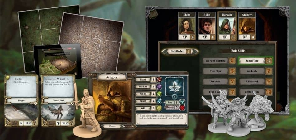 Journeys in Middle Earth Board Game Components and App