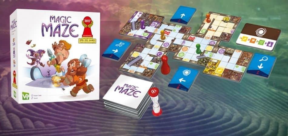 Magic Maze Board Game Box and Board Setup