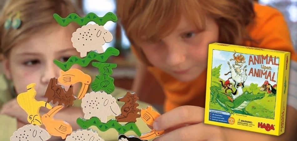 Animal Upon Animal Kids Board Game Box and Animal pieces