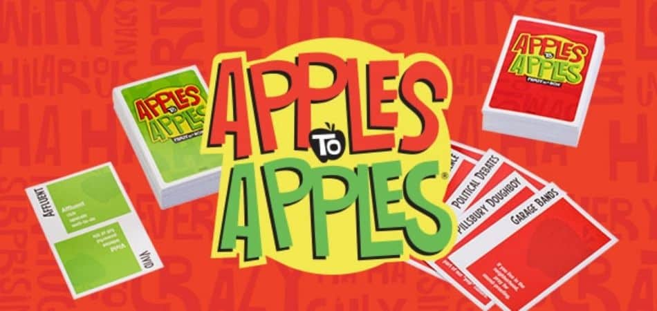 Apples to Apples Board Game Logo and Cards