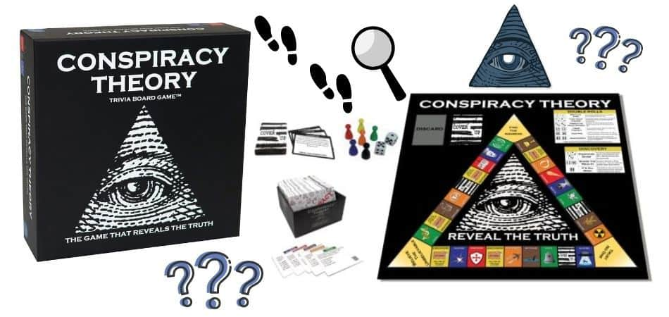 Conspiracy Theory Trivia Board Game Box and Components