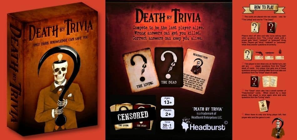 Death By Trivia Board Game Box and Instructions