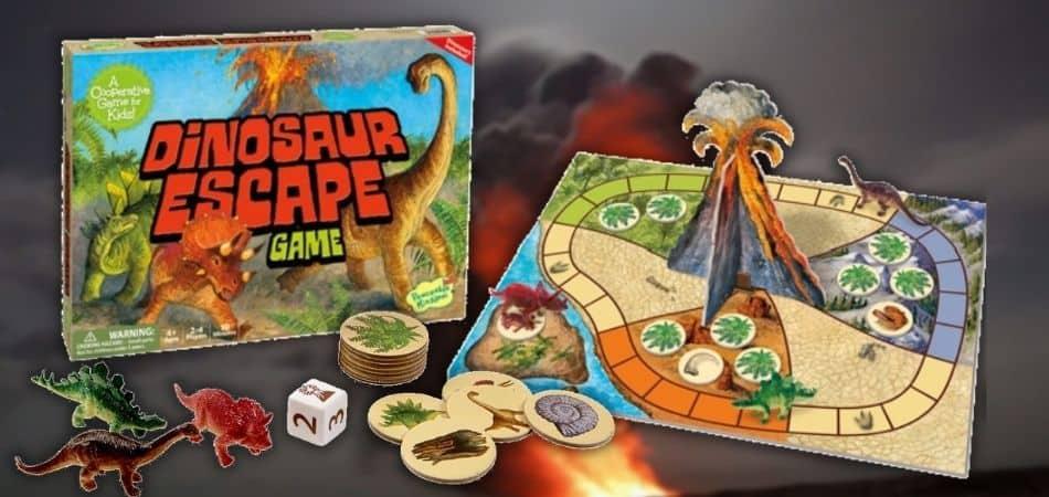 Dinosaur Escape Kids Board Game Box and Board